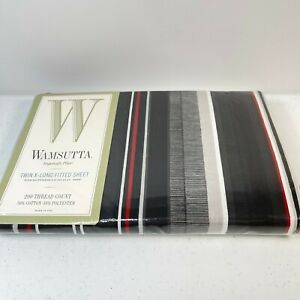 wamsutta fitted sheet twin NWTs black striped cotton blend usa 200 thread