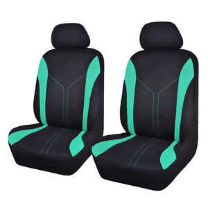 Two Car Seat Covers Mesh Universal Front Breathable Mint Green Black Fit Airbag