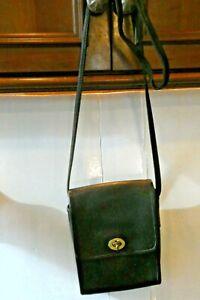 "COACH BLACK LEATHER  CrossBody SHOULDER Handbag 5.5"" x 8""H x 1 1/2"" deep"