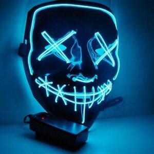 Halloween Led Face Mask 3 Mode Wire Light Up Mask The Purge UK