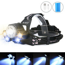 120000 Lumens 5x T6 Zoomable LED Rechargeable 18650 USB Headlamp Head Light USA