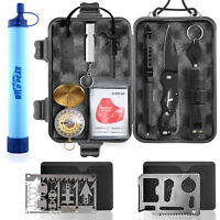 Wild Peak PREPARE-1 Survival Kit with Filter Straw & 2 Multi-tools for Emergency