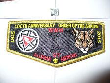 Allohak Menewi Lodge 57, 1915 - 2015,100th Ann OA Flap,GMY,67,130,242,275,540,PA