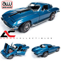 AUTOWORLD AMM1176 1:18 1967 CHEVROLET CORVETTE 427 STINGRAY MET. BLUE MCACN