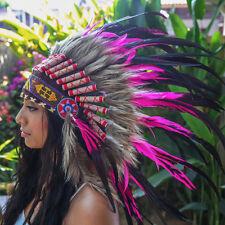 PINK INDIAN HEADDRESS Chief War bonnet Costume Native American Halloween