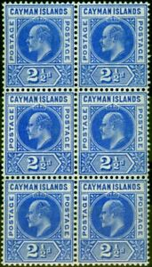 Cayman Islands 1905 2 1/2d Bright Blue SG10 V.F MNH Block of 6