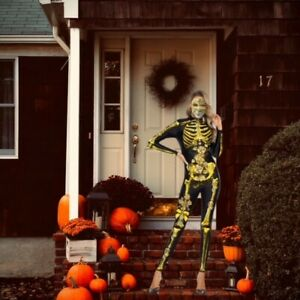 Spooky Halloween Party Costume One-Piece Scary Jumpsuit IT Hulk Skeleton Medium