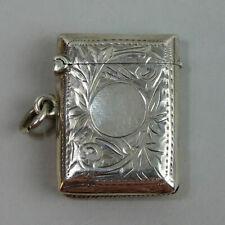 EDWARDIAN ANTIQUE SILVER VESTA CASE MATCH SAFE BIRM. 1905 - 15.2 GRAMS