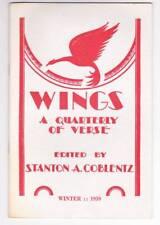 WINGS A QUARTERLY OF VERSE Winter 1959 - poem by Thomas Burnett Swann.