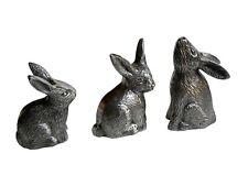 Metal Rabbit set of 3 bunny hare sculptures table top