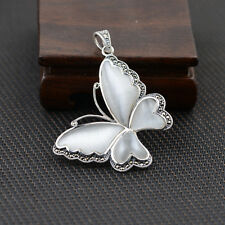 Noble Jewel Cat's Eye And Marcasite Butterfly 925 Sterling Silver Pendant