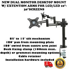 """NUOVO Dual Monitor Desktop Mount W / Extension Arms per LCD / LED 10 """" -30"""" schermate"""