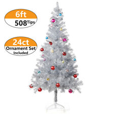 6 ft Tinsel Christmas Tree with 24ct Assorted Ornament Set, Metal Stand - Silver