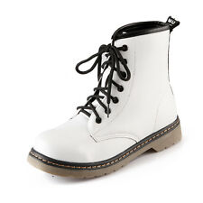 Womens Winter Combat Boots Leather Military Lace Up Motorcycle Shoes Size 5-9