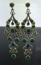 Chandelier Green Crystal Long Swarovski Earring Wedding Silver Emerald 8cm