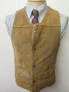 "Vintage Schott Bros Rancher Suede Sheepskin Gilet Waistcoat S 34"" Euro 44"