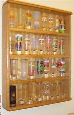 oak 4 inch shot glass display case shelf plexi front showcase ab1