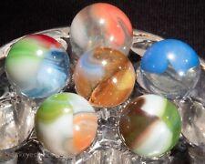 6 Assorted Vitro Agate Vintage Marbles 5/8 Mint-NM++ hawkeyespicks