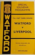 More details for watford v liverpool programme + match ticket f.a. cup 3rd round 28/1/1967.