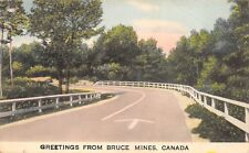 Bruce Mines Ontario Canada 1949 Greetings Postcard Road White Fence