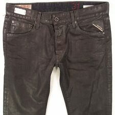 NEW Mens Replay MA989 LENRICK Slim Straight Black Jeans W32 L34 BNWT