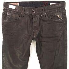Nouveau Homme REPLAY MA989 Lenrick Slim Noire Droite Jeans W32 L34 BNWT