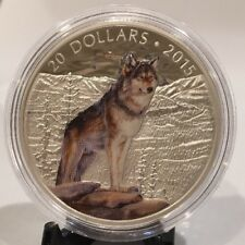 2015 Canada $20 1 Oz Fine Silver Coin Imposing Alpha Wolf Colored