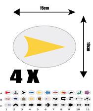 4X autocollant Oval  15cm avec impression  FLECHE REF A5 flèche DIRECTION