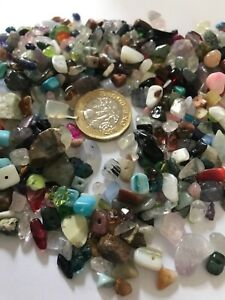 WHOLESALE 100 ASSORTED  GEMSTONE CHIPS CRYSTALS With Hole Jewellery Making Craf