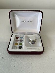 Unique Sterling Silver 925 with 9 Interchangeable Stones Ring Size 7