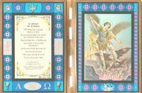 """St. Michael the Archangel Stained Glass Prayer Plaque 10"""" x 14"""" open"""