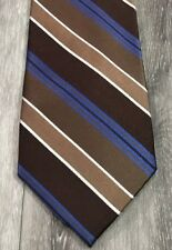 NWOT Jones New York Blue Brown Striped Luxury Silk Tie Necktie