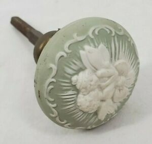 ANTIQUE Wedgewood/Jasperware Green & White Cherub/Fairy Door Knobs 1 Side Only