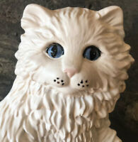"""VTG 70s Ceramic Art FAT CAT WHITE Kitty Pink Nose Blue Eyes BIG 8.5"""" Chip AS IS"""