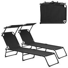 casa.pro 2x chaises longues 190cm noir avec toile chaise longue de jardin