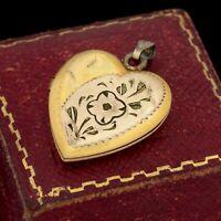 Antique Vintage Deco 12k Bi Gold Filled GF Chased Floral Locket Charm Pendant