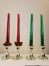 Metallic Green & Red Taper Candles, Battery Operated & Gold Plastic Candlesticks