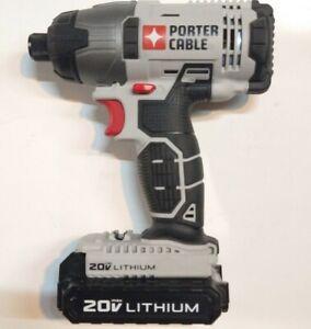 "Porter-Cable PCC641 20V Li-Ion 1/4"" Hex Impact Driver & PCC681L Lithium Battery"