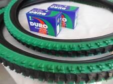 "26x1.95 Black Green Bicycle Knobby Tires + Tubes Mountain Bike 26"" NEW 26x1.95"
