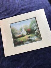 "Thomas Kinkade ""Hometown Chapel"" Matted Collector Print 8"" x 10"" With Coa"