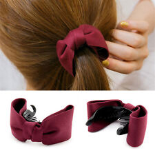 Wine Red Bowknot Hair Comb Claw Fascinator Ponytail Holder Hair Accessories
