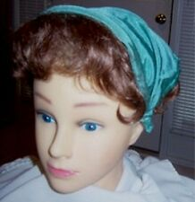 Bandana Hat ® Toddler Size, Headband Secures On Head Med. Green Satin-Look Rayon
