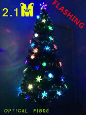 2.1m 7Ft Fibre Optic LED Flashing Multi Colour High Density Christmas Xmas Tree