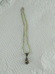 Lori Bonn 925 Smoky Quartz Pendant Green Glass Beaded Necklace