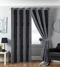 Eyelet Tape Jacquard Ring Top Fully lined Pair Curtains For Living Room Bedroom
