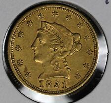 1851 $2.50 Liberty Half Eagle Gold Coin - Nice XF condition coin