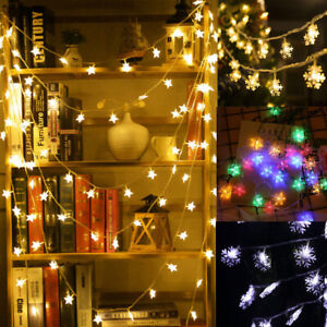 LED Star Snowflake Lights Battery Garden Fairy String Micro Wedding Party Decor