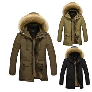 Men Jackets Parka Parker Padded Lined Winter Jacket Faux Fur Hooded Warm Coat