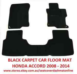 BLACK FLOOR MAT FRONT + REAR, HONDA ACCORD 2008-2014, BLACK