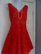 STUNNING LADIES  OASIS   SUMMER   RED  LACE  TEA    DRESS SIZE  16